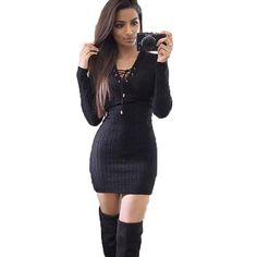 Women Sweater Dress Autumn Sexy Lace Up Bandage Bodycon Christmas Party Dresses Robe Pull Femme Hiver Vestido