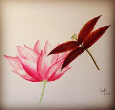 14ème jour. Libellule sur un Nénuphar. Aquarelle et feuilles d'automne. #flowleaf2015 #fleur #libellule #Aquarelle #flowmagazine_fr #peinture #Illustration #DominiqueBlancCreation #aliasLysaDomi #automne2015