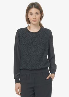 Lace Overlay Crew Neck Blouse   Vince