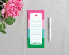 Flamingo Stripe Personalize Lined Tall Notepad | Flamingos for a Cure | Meredith Collie Paper  20% of each sale donated to breast cancer awareness.