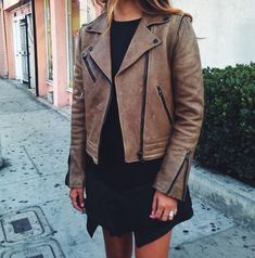 LBD + leather bomber