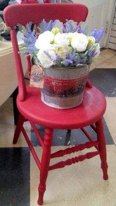 "Love this cute vintage garden chair repainted in AS Chalk Paint in ""Emperior's Silk""..."