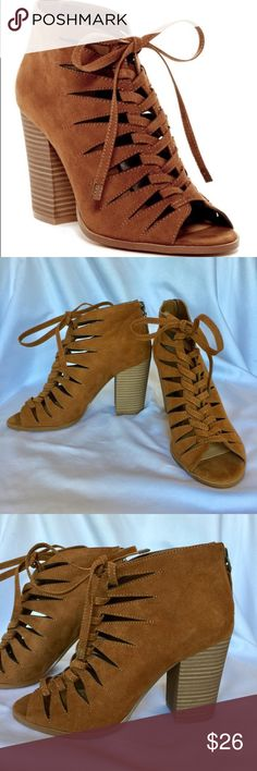 Zora Block Bootie NWOT and never worn, this bootie has stack heel and lace up front. Man-made materials. No box. Zora Shoes Ankle Boots & Booties