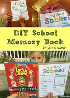 Free first day of School sign and memory book ideas for School that area easy to do and you can do it yourself at home with your kids as a craft.