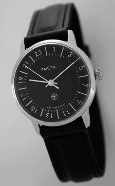 Raketa CLASSIC 24-hour mechanical watch (black)