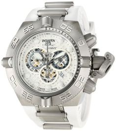 Invicta Men's 1392 Subaqua Noma IV Chronograph Silver Dial White Polyurethane Watch Invicta. $315.48. Flame-fusion crystal; stainless steel case; white polyurethane strap with stainless steel accents. Silver perforated dial with silver tone and white hands, white hour markers; tachymeter scale on inner bezel; luminous; unidirectional stainless steel outer bezel;  screw-down pushers and crown with protective clasp. Water-resistant to 500 M (1640 feet). Chronograph ...