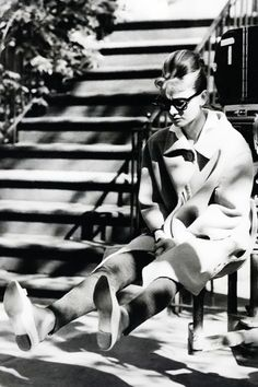 Audrey Hepburn photographed at the location of Breakfast at Tiffany's, in 1960