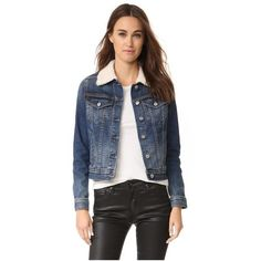AG Shearling Mya Jacket (425 CAD) ❤ liked on Polyvore featuring outerwear, jackets, indigo abyss, denim jacket, jean jacket, long sleeve denim jacket, shearling collar jacket and shearling jacket