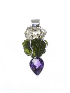 Herkimer Diamond, Moldavite & Amethyst Pendant from Silver Moldavite Pendants, rainbow-spirit.co.uk