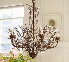 Camilla 6-Arm Chandelier | Pottery Barn- could modify to get rid of candles?
