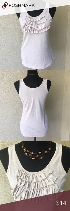 """SALE Forever 21 Oatmeal ruffle tank Forever 21 oatmeal color ruffle neckline tank- material content tag has been removed but material is stretchy and super soft! Ruffles add a perfect amount of detail to dress up a casual outfit! EUC no stains or snags Bust 16"""" length 27""""  ✅I ship same or next day ✅Bundle for discount Forever 21 Tops Tank Tops"""