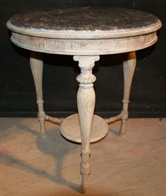 Small late 19th C bleached oak and marble occasional table. 1880.