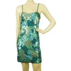 Pre-owned Mini dress (335 CAD) ❤ liked on Polyvore featuring dresses, turquoise, short evening dresses, cocktail dresses, sequin cocktail dresses, green sequin dress and strapless cocktail dresses