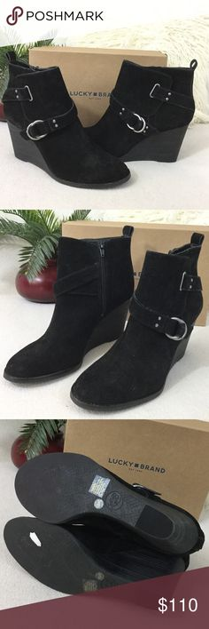 """Lucky Brand☘️BRAND NEW Black suede wedge bootie Lucky Brand☘️BRAND NEW Black suede wedge ankle boot.  Double strap detail and side zipper for easy on/off. Excellent condition never worn. States size 10 feel they are running a little small like a 9.5 insoles measure 10.5"""" long Boot measures 8"""" tall including 3.5"""" heel. 916-825 Lucky Brand Shoes Ankle Boots & Booties"""