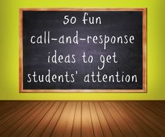 50 fun call and response ideas and time-tested tips to get students' attention in the classroom Call And Response, Classroom Behavior Management, Behaviour Management, Music Classroom, School Classroom, Future Classroom, Classroom Ideas, Teaching Strategies, Teaching Tips