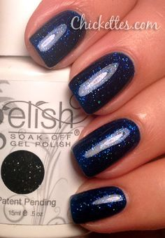 Gelish Holiday Party Blues Color Swatch. Gelish products available at www.esthersnc.com