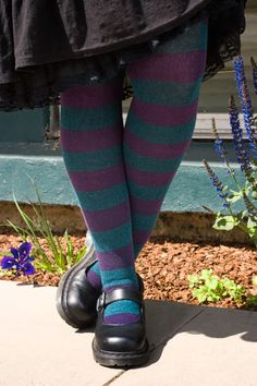 TEAL & PLUM - Extraordinarily Longer Striped Thigh High - Unique Sexy Colorful Socks - Sock Dreams