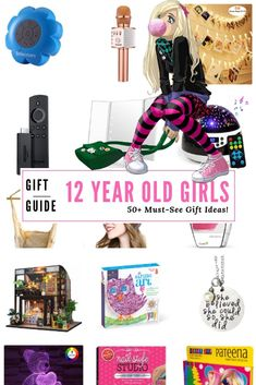 50+ Awesome gifts for 12 year old girls that you wouldn't have thought of yourself.  The top products, electronics, jewelry, clothing, and items that they want for their 12th birthday or Christmas.  These are cool gift ideas that will rock if you're a tween girl.  #giftguide #giftideas #tweengirls