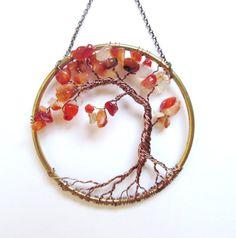 Carnelian Wire Tree of Life Wall Hanging, Autumn Tree Bonsai Sun Catcher - Small