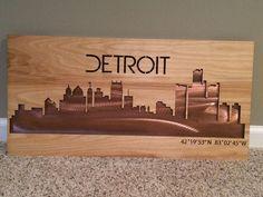 Custom Made Birchwood Laser Cut Skyline With Metal/Wood Inlay Detroit
