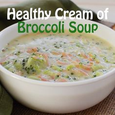 Healthy Cream of Broccoli Soup This creamy and healthy broccoli soup is prepared using all clean ingredients. It is also dairy free and plant-based​. Nutritious and delicious soup for light lunch or dinner or as a side. Diet Dinner Recipes, Vegetarian Recipes, Cooking Recipes, Healthy Recipes, Diet Recipes, Easy Recipes, Diet Meals, Gourmet Recipes, Cooking Fish