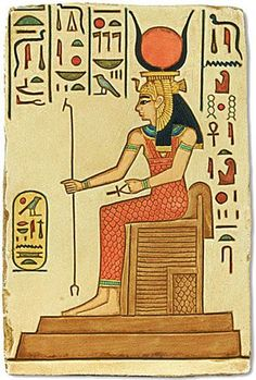 HATHOR, SKY-GODDESS OF LOVE, BEAUTY, MOTHERHOOD, FOREIGH LANDS, MINING & MUSIC - Commonly depicted as a cow goddess with head horns in which is set a sun disk with Uraeus. Twin feathers are also sometimes shown in later periods as well as a menat necklace. She was Horus's consort. Hathor's identity as a cow, depicted as such on the Narmer Palette, meant that she became identified with another ancient cow-goddess of fertility, Bat with whom she is linked and later supplanted