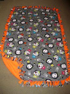 Zombies w/ Orange back Fleece Tie Blanket