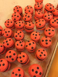 """lilonecosplay: """" Tikki, spots on! Tried to make some Ladybug inspired macarons today. They definitely aren't my best work and they came out more pink than red, but they taste good"""""""