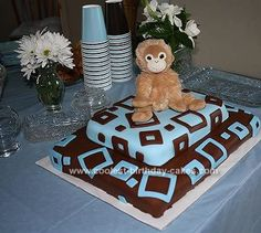 Homemade Brown and Blue Square Fondant Baby Shower Cake... This website is the Pinterest of baby shower cakes