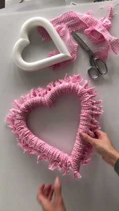 DIY Fabric Heart Wreath Wall Decor, Greet everyone who comes to your door with love, with this easy DIY heart wreath. Valentine Day Wreaths, Valentines Day Decorations, Valentine Day Crafts, Holiday Crafts, Christmas Crafts, Kids Valentines, Valentines Ideas For Bestfriends, Funny Christmas, Valentines Day Gifts For Him Husband