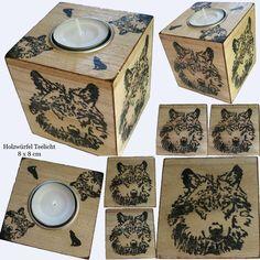 **Teelichthalter Teelichtbox aus Holz mit Wolf, jede Seite leicht…