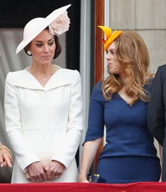 Catherine, Duchess of Cambridge and Princess Beatrice stand on the balcony of Buckingham Palace during Trooping the Colour, this year marking the Queen's 90th birthday on June 11, 2016 in London, England.