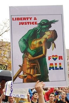 Liberty & Justice for All, Statue of Liberty and Lady Justice get it on! LGBTQ political poster, gay rights movement #equality www.thegailygrind.com