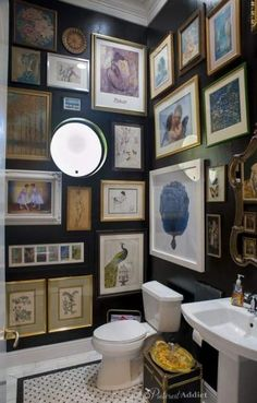 A powder room is just a rather more fancy way of referring to a bathroom or toilet room. Just like in the case of a regular bathroom, the powder room may present different challenges related to its interior design and… Continue Reading → Old Bathrooms, Small Bathroom, Bathroom Black, Bathroom Artwork, Bathroom Ideas, Bathroom Gallery, Boho Bathroom, Pictures In Bathroom, Artwork Wall