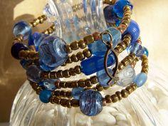Wrap bracelet, Beaded bracelet, Boho bracelet, Christian bracelet, Christian jewelry, Blue glass memory bracelet, Hand made bracelet. by HeavenlyTreasuresLG on Etsy