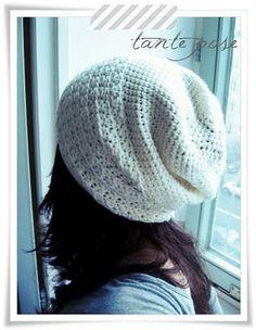 slouchy crochet hat pattern.