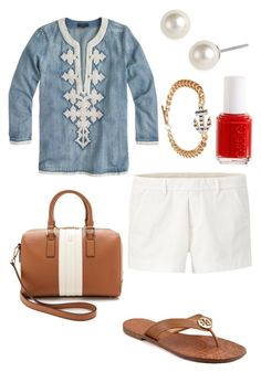 """""""."""" by thepinkcatapillar ❤ liked on Polyvore featuring mode, Uniqlo, J.Crew, Tory Burch, Givenchy, Essie en Humble Chic"""