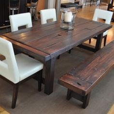 Traditional Barn Wood Dining Room Table With Bench Dining Room - Distressed wood dining table with bench