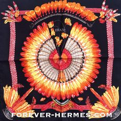 Stunning this #Brazil #HermesScarf designed by Laurence Bourthoumieux a very prolific french artist for couture house #hermes #paris available now in our online #hermescarre store #foreverhermes http://forever-hermes.com as very Rare Gavroche pocketscarf necktie that would look fierce with any suit mensfashion reminding us of the native american tribe #americanindian #feathers decorations and Tupi #Tapuia #indios #Xingu #Amazon costumes. Hermes addict Hermes collector