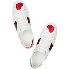 Gucci Ace heart-appliquéd leather trainers (€390) ❤ liked on Polyvore featuring shoes, sneakers, gucci trainers, round toe sneakers, cushioned shoes, leather sneakers and gucci sneakers