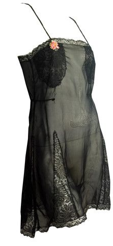 Black Silk Envelope Chemise with Lace Trim and Pink Ribbon circa 1920s - Dorothea's Closet Vintage