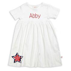 Girls Personalized White Empire Cotton Dress