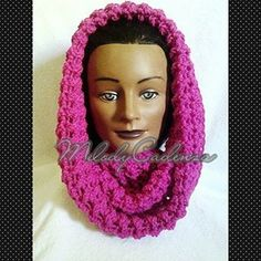 Women's Shocking Pink Oversized Cowl www.melodycadenzaclothing.com #Crochet #Handmade #InfinityScarf