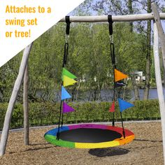"""400 lb Weight Capacity Bonus Flag Set and 2 Carabiners Giant 40/"""" Saucer Tree Swing in Elite Rainbow Adjustable Ropes Royal Oak Non-Stop Fun for Kids Durable Steel Frame  Waterproof Easy to Install"""