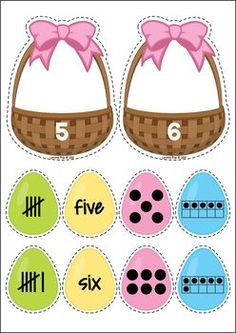 Easter Treats Preschool Centers. Easter egg number sorting.