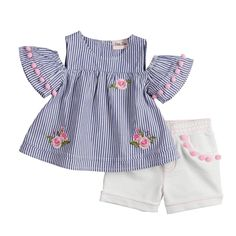 Baby Girl Little Lass Embroidered Cold-Shoulder Top & Shorts Set, Size: 12 Months, Grey (Charcoal) Baby Outfits, Outfits Niños, Baby Girl Party Dresses, Little Girl Outfits, Little Girl Fashion, Toddler Outfits, Kids Outfits, Dress Girl, Kids Fashion Blog