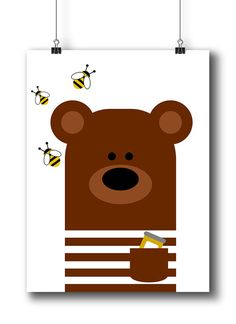 Bear Nursery Art Animal Nursery Print Kids Wall by LimitationFree
