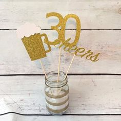 Beer mug centerpiece - birthday - birthday - cheers to 30 years - dirty thirty - thirsty thirty - centerpiece - Event Planing Beer Birthday Party, Surprise 30th Birthday, Birthday Presents For Him, Birthday Cheers, 50th Party, 30th Birthday Parties, Birthday Crafts, Birthday Ideas, Happy Birthday