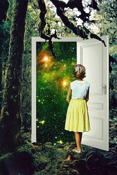Portal in the Woods Art Print by Eugenia Loli - X-Small Collage Kunst, Collage Artists, Eugenia Loli, The Woman In Black, Sign Printing, Screen Printing, Surreal Art, Surreal Collage, Wood Art