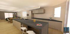 "Interior project for client WE. We created a functional and ""no nonsense"" design for the kitchen and living area.   More info at http://www.cr33mers.be Interieur project voor woonkamer en keuken dat zeer functioneel is ingedeeld met een ""no-nonsense"" design."